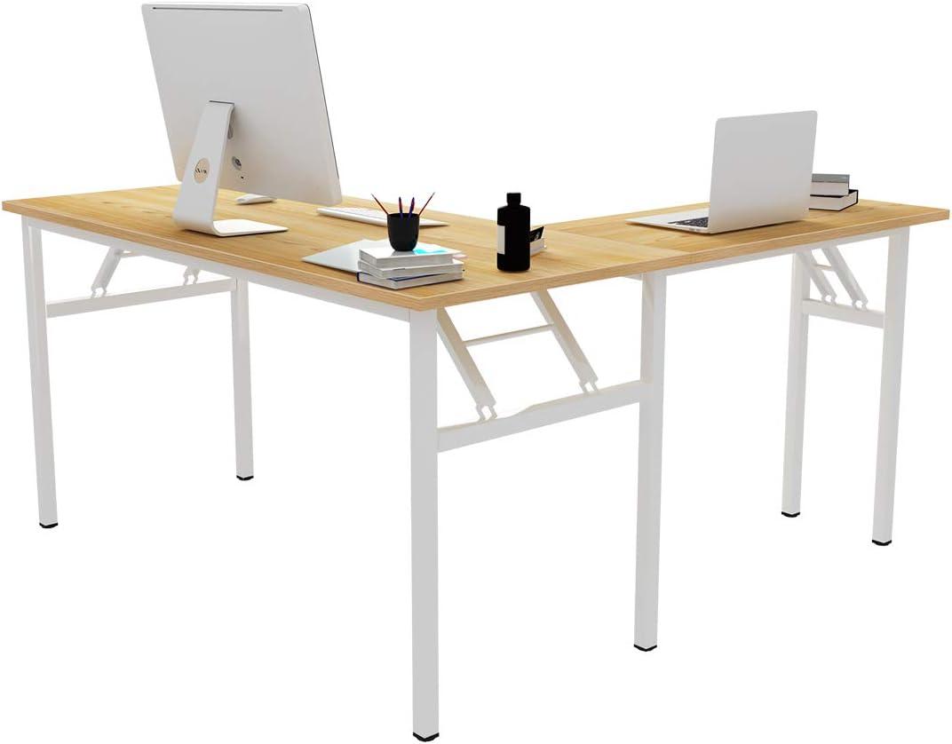 DlandHome Reversible Long Beach Outlet sale feature Mall L-Shaped Desk Folding Large Corner Tab