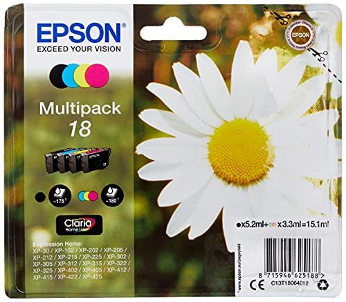 Epson Orginal 18 Tinte Gänseblümchen, XP-305 XP-402 XP-215 XP-312 XP-315 XP-412 XP-415 XP-225 XP-322 XP-325 XP-422 XP-425,Normalverpackung,Standard, (Multipack, 4-farbig)