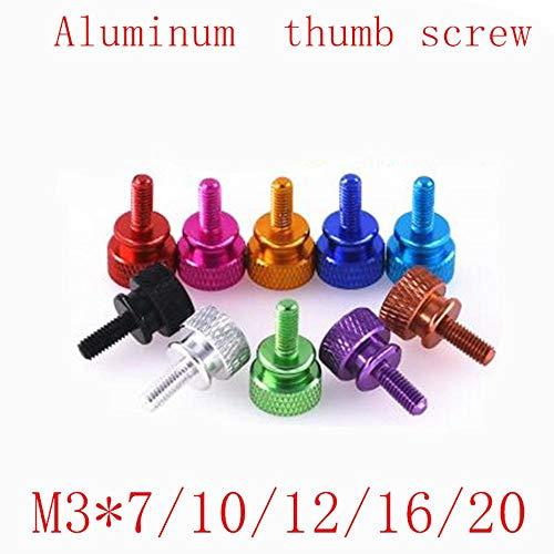 5pcs / lot M3 * 7/10/12/15/20 Paso aluminio colorido mano moleteada apriete el tornillo de mariposa, azul profundo, M3