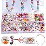 IWILCS Set de 32 colores para hacer manualidades, collar y pulsera, para niños, joyas para enhebrar, perlas para manualidades, regalo de cumpleaños para niñas y niños