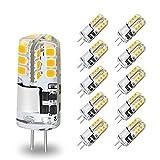 10Pcs Bombillas LED G4, 300 Lúmenes, 3000K Blanco Cálido, 3W Equivalente a Bombillas Halógenas de 30W, Maíz Lámparas LED AC / DC 12V, Sin Parpadeo, no Regulable, para Sala de Estar, Dormitorio, Cocina