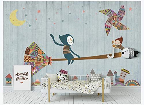 Apoart 3D behang originele molen bezem houten bord kinderkamer achtergrond muur 140X100cm(55.11by39.37in)