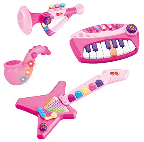 Liberty Imports 4-Piece Band Musical Toy Instruments Playset for Kids - Keyboard, Guitar, Saxophone and Trumpet - with Volume Control (Pink)