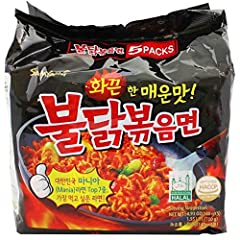 INCLUDES: 5 individually wrapped packets of Samyang instant Ramen noodles SERVING SIZE: (1) Serving per individual package. 530 Calories per serving FLAVOR: Spicy Chicken, Fire Noodles HALAL: 100% Halal certified COOKING INSTRUCTIONS: Boil noodles fo...