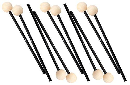 5x XDrum MM3 Xylophonschlägel - Lieferung im Paar - Vibraphonschlägel mit Länge: 28,5cm - Kopf aus Holz - Kopfdurchmesser: 2,3cm - Holzkopf