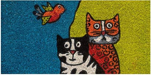 Felpudo de entrada casa coco con base de PVC pintado a mano gatos y pajaros 50x25x2 cm. Fácil de limpiar y ultra resistente
