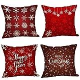 Fundas Cojines de Navidad 4 Pieza, Patrón de Copo de Nieve Ciervo Merry Christmas Funda de Cojines 45x45 Navidad Decoracion para Hogar Casa Sofa Jardin Cama (05)