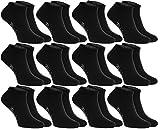 Rainbow Socks - Donna Uomo Colorate Calzini Corti di Cotone - 12 Paia - Nero - Taglia 36-38