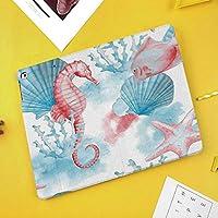 新型iPadケース スマートカバー アイパッドケース タブレットカバー プロ10.5 iPad Pro 10.5 オートスリープ機能 スタンド付き ダイアリー 手帳型 ブ(モデル番号:A1701,A1709)海の貝海馬サンゴ魚砂浜エキゾチックな様式化された水彩画の色効果装飾