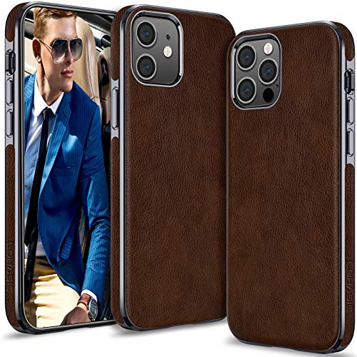 LOHASIC for iPhone 12 Pro Leather Case Cover Men, for iPhone 12 Slim Phone Hybrid Elegant Women, Non-Slip Soft Protective TPU Bumper Compatible with iPhone 12/12 Pro 5G (2020) 6.1 Dark Brown