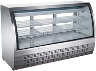 Curved Glass Refrigerated Deli Case - Meat or Seafood Display Showcase, Stainless Steel; 64