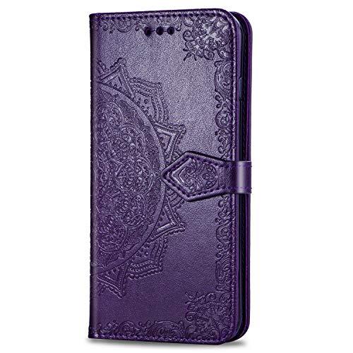 3C Collection Fundas Xiaomi Redmi Note 7 Tapa de Falsa Piel Mandala Morado, Fundas Redmi Note 7 Libro Iman con Tarjetero, Grabado Flores de Funda para Xiaomi Redmi Note 7 Antigolpes Mujer