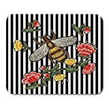 Egoa Mousepad Alfombrilla De Ratón Abeja Y Flores Japonesas Parche De Insectos Floral Animal Colección Negra Alfombrilla De Ratón 25X30Cm