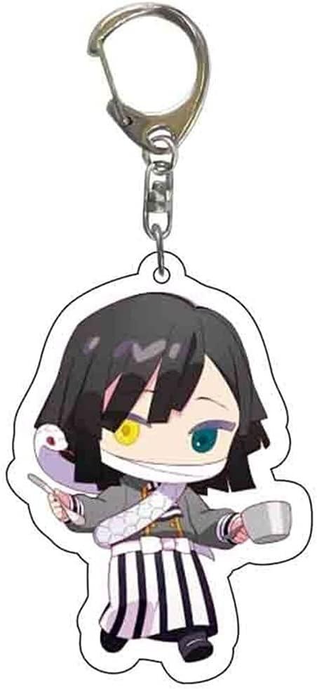 Demon Slayer Keychain Obanai Iguro Acrylic Tableware Anime Kimetsu No Yaiba Key Chain Cartoon Cosplay Keyring Pendant Key Holder Accessories for Fans Gift 014W 08