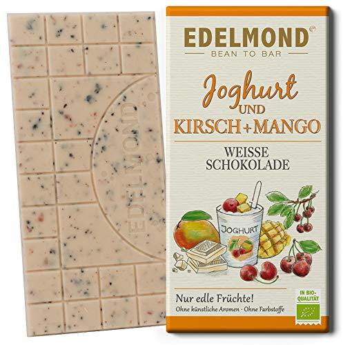 Edelmond Bio weiße Schokolade Kirsche & Mango - mit Joghurt und getrockneten Früchten in bester Rohkost-Qualität. Ohne Farbstoffe, ohne Soja Emulgatoren, Weiße Schokolade, Bio. (1 Tafel, 75g)