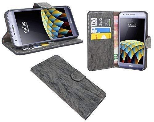 ENERGMiX Elegante Buch-Tasche kompatibel mit LG X-CAM in Anthrazit Leder Optik Wallet Book-Style