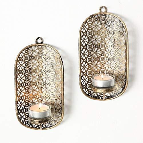 Home Collection Metall Leuchter Wandkerzenleuchter 2er Set antikgold H19cm