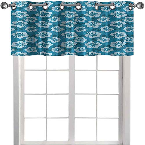 Cenefa de cortina para ventana, diseño de hibisco hawaiano, flores y hojas, diseño de tela de moda, impresión de arte de 127 x 45 cm, cortinas oscurecedoras para dormitorio, color verde azulado y azul