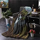fenlin Apartment Decor Lujo Manta de Grado Especial Cascada Paisaje en Islandia Sunset Mountain Área Volcánica Belleza Natural Nadie Aislada Multiuso para Sofás, etc. W91 x L152 cm Multi