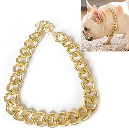 Collar de Perro Oro, ZoneYan Cadena de Oro Perro, Collar de Cadena Cubano, Cadenas de Eslabones para Perros, Collar de Cadena de Metal Perros, Collar de Oro Mascotas, Collar Perro de Cadena (Oro, L)