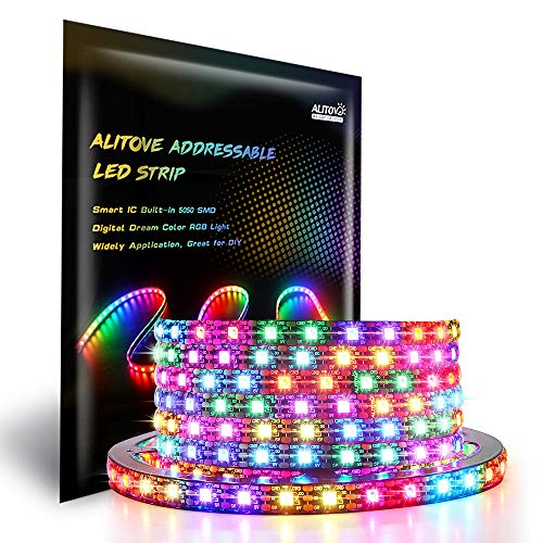 ALITOVE WS2812B Addressable 300 Pixels RGB LED Strip Light 5m/16.4ft Programmable Dream Color Digital LED Flexible Strip Pixel Light Waterproof IP65 5V Black PCB for Home Bedroom Bar Decor Lighting