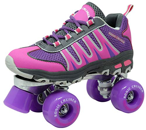 Lenexa Sonic Cruiser 2.0 Roller Skates for Women and Men - Unisex Sneaker Style Roller Skate for Outdoor/Indoor Skating - Pink/Black and Teal/Black (Pink/Purple, 9 US Women/8 US Men)