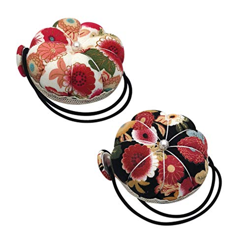 2 Pieces Wrist Pin Cushions Wearable Needle Pincushions Pumpkin Wrist Band Pin Cushion Vintage Floral Sewing Pincushion with Faux Pearl 2 Floral Patterns