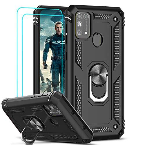 LeYi für Samsung Galaxy M31 Hülle mit Panzerglas Schutzfolie(2 Stück),360 Grad Ring Halter Handy Hüllen Cover Bumper Schutzhülle für Hülle Samsung Galaxy M31 Handyhülle Schwarz