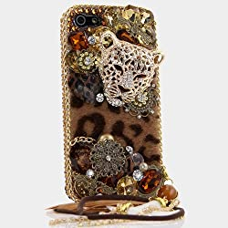 Sparkle Leopard Cheetah Head with Feather Phone Charm Cover