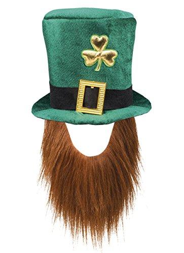 Boland 44907 Hut Leprechaun, Grüner Kobold, mit Bart, Mütze, Kopfbedeckung, Irland, St. Patricks Day, Glücksbringer, Karneval, Mottoparty