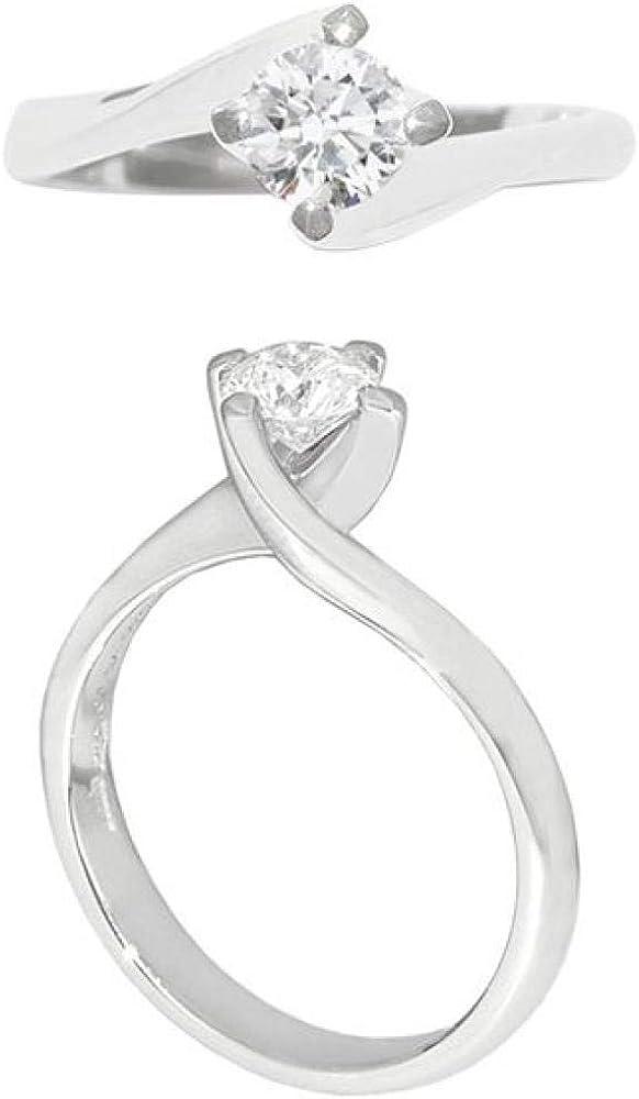 Chimento,anello solitario per donna, in oro bianco 18 kt (3,7gr),con diamante centrale 0,45 ct 1A4B0454H5140