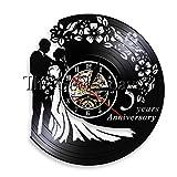 1 Stück Jubiläum 5 Jahre Vinyl Rekord Hochzeit Wanduhr Hochzeit LED Nachtlampe Hochzeitsgeschenk Handmade Wohnzimmer Dekoration-No_Led