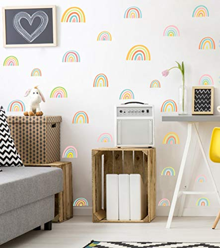 Colorful Rainbow Wall Decal, Attractive Watercolor Rainbows Removable Vinyl Sticker for Kids Room Nursery Classroom Decor (52pcs Multicolor Decals)