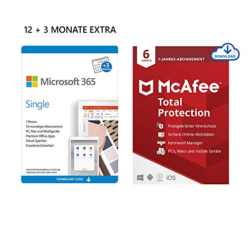 Microsoft 365 Single 12+3 Monate Abonnement | 1 Nutzer | Mehrere PCs/Macs, Tablets und mobile Geräte | Download Code + McAfee Total Protection 2020 | 6 Geräte | 12 Monate Abonnement | Download Code