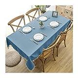Beydodo Mantel Poliéster Azul Mantel Mesa Rectangular Color Sólido con Borlas Mantel 140x180CM