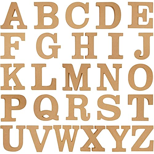 Juvale Letras de madera del alfabeto para manualidades, decoración de pared del hogar (4 pulgadas, 2 de cada letra, 52 piezas
