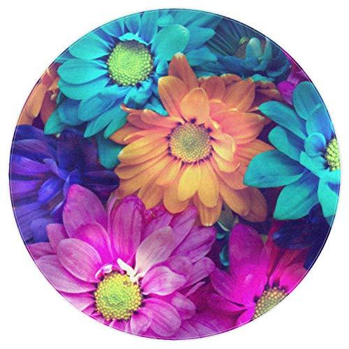 EZIOLY Alfombra redonda con flores de pétalos coloridos y antideslizante, alfombra de suelo suave, felpudo de 4 pies, para sala de juegos, sala de estudio, dormitorio, sala de estar, decoración del hogar, Tejido de poliéster, multicolor, 5.2ft-160cm