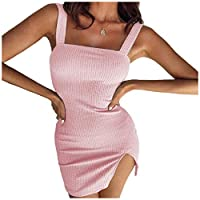 AngelSpace セクシーなスプリットドレスを強化する女性の曲線スリングミニドレスプレーンボディ Pink S