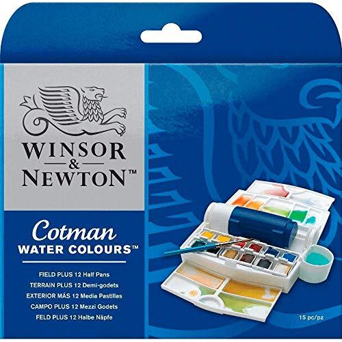 Winsor & Newton Cotman Water Colour Paint Field Plus Set, Set of 12, Half Pans