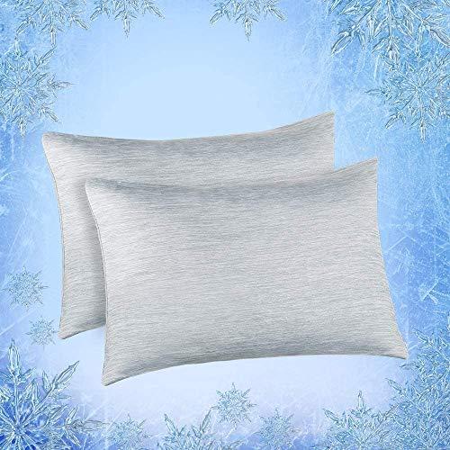 Elegear 2er Kühlender Kissenbezug Schont Haut und Haare Kopfkissenbezug Duales Design Kissenhülle mit Premium...