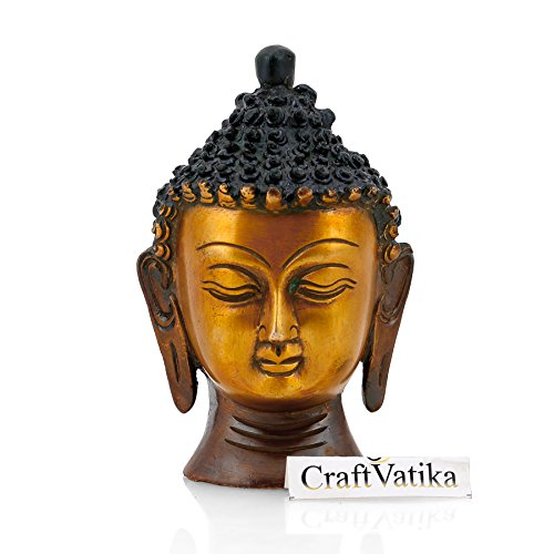 CraftVatika Antique Buddha Head Statue Buddhist Religious Brass Sculpture Fenfshui Figurine