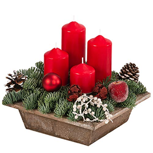 Dehner Adventsgesteck in Holzschale, mit 4 roten Kerzen, ca. 22 x 22 cm, Naturmaterialien, grün/rot