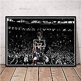 WIOIW NBA Basketball Sports Great Player Lakers Star Kobe Bryant Jump Shot Lore # 24 Lienzo Pintura Arte de la Pared Póster Fans Dormitorio Sala de Estar Gym Club Decoración del hogar