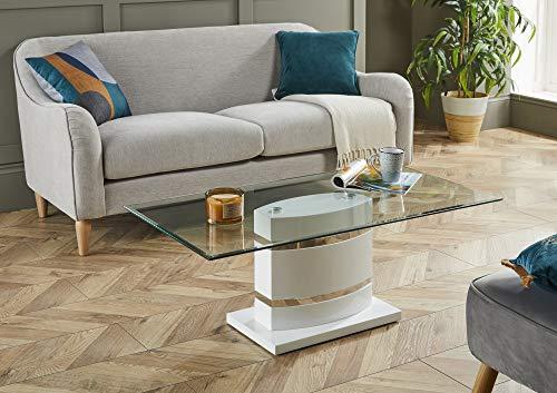 Portland Large Stylish White High Gloss and Chrome Glass Modern Living Room Coffee Table