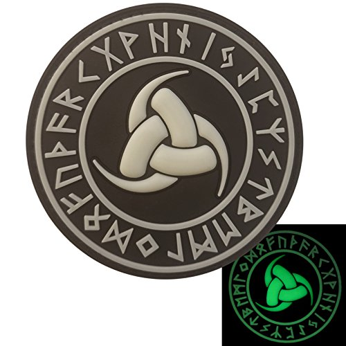 2AFTER1 Glow Dark Triple Horn of Odin God Norse AsatruTriskelion Heathen Rune Viking Runic Pagan Morale PVC