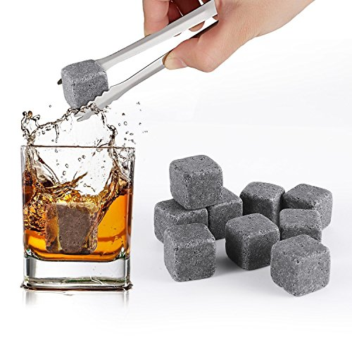 SAVFY 9 PCS Whisky Chilling Rocks Ice Stones Bevande Raffreddamento cubi Scotch Whisky on The Rocks Granito con Un Sacchetto in Mussola