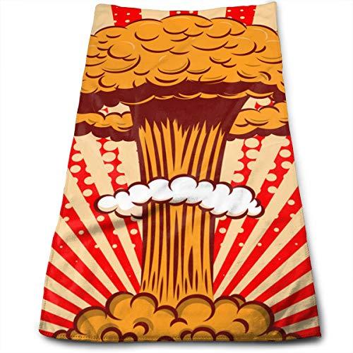 Sggual Explosión Nuclear en Estilo de Dibujos Animados en cómic Toallas de Mano Decorativas Grandes y Suaves Multiuso para baño, Hotel, Gimnasio y SPA (11.8'x 27.5')