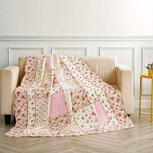 Qucover Tagesdecke Patchwork für Einzelbett 150x200cm Baumwolle Patchworkdecke Rosa für Mädchen Gesteppte Sofaüberwurf Bettüberwurf 140x200cm mit Blumenmuster