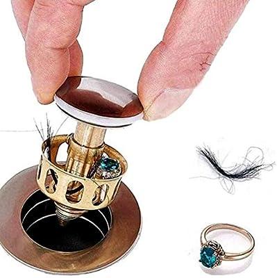 GTHT 4pcs Universal Wash Basin Bounce Drain Filter Sink Drain Vanity Stopper Bathroom Accessories Bathtub Plug Trap Hair Catcher Faucet,Drain filter