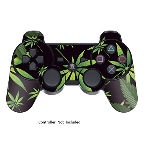 Skin Stickers for Playstation 3 Controller - Vinyl High Gloss Sticker for DualShock 3 Wireless Game PS3 Controllers - Protectors Controller Decal - Weeds Black [ Controller Not Included ]
